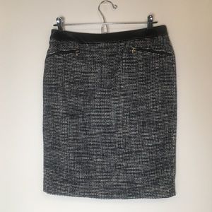 Hug Boss Woven Pencil Skirt with Leather Waistband